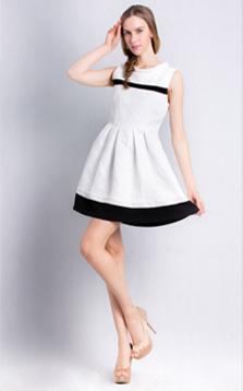 黑白撞色无袖公主廓形连衣裙