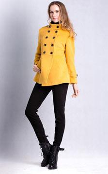 双排扣A型中长款修身羊毛外套