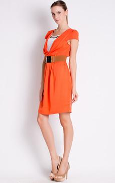 阿莱 夏款韩版遮袖名媛气质超显瘦V领收腰假两件连衣裙 L122108