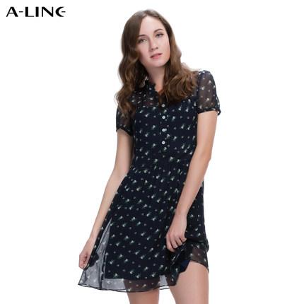 Aline/阿莱 2017年夏季雪纺连衣裙 短袖衬衫领淑女风碎花连衣裙