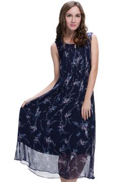 Aline/阿莱 2017年夏季真丝连衣裙 舒适透气藏青色印花无袖长裙 ,潮流女装