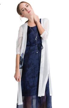 Aline/阿莱 2017年夏季薄款开衫 白色七分袖印花百搭长款防晒服,女装新款,潮流女装