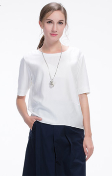 Aline/阿莱 2017年夏季纯色T恤 简约百搭款五分袖舒适宽松型衬衫,女装新款,潮流女装