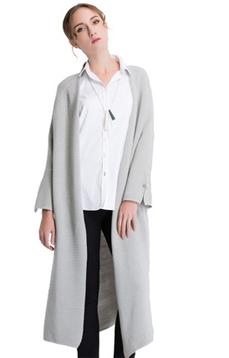 Aline/阿莱2017春款坑条纹长袖针织衫长款纯色开衫外套 AGZ1006