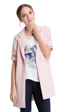 Aline/阿莱2017新款粉色百搭简约衬衫式中长款风衣外套 AGS1058  粉色流行百搭简约 ,潮流女装