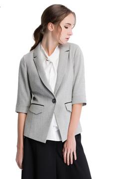 Aline/阿莱2017新款修身常规一粒扣灰色杂色中袖小西装 AGS1047,女装新款