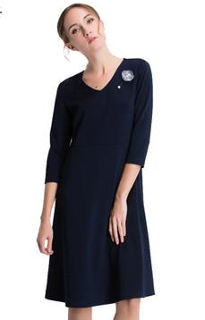 Aline/阿莱2017春装七分袖藏青色针织大摆修身优雅连衣裙 AGL1066  针织修身舒适优雅