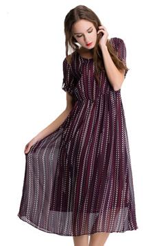 Aline/阿莱2017新款条纹桑蚕丝圆领修身短袖森女风长裙 AGL1035  桑蚕丝飘逸轻盈 ,潮流女装
