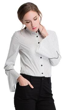 Aline/阿莱2017夏款喇叭袖点点明线装饰修身衬衫 AGC6115  喇叭袖点点明线装饰修身衬衫 ,女装新款