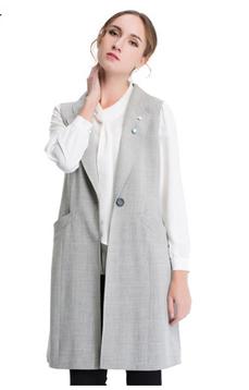 Aline/阿莱2017春装无袖灰色马甲中长款风衣外套  时尚无袖马甲中长款 ,潮流女装