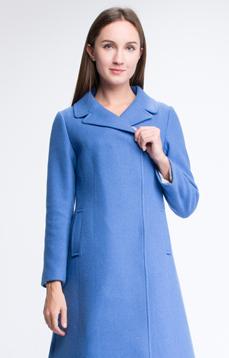 Aline/阿莱 反季秋冬羊毛大衣 蓝色西装领修身显瘦简约毛呢外套  暗扣 A型摆 [618]
