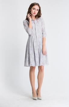 Aline/阿莱2017春装新款翻领单排扣七分袖质感蕾丝修身连衣裙[专]