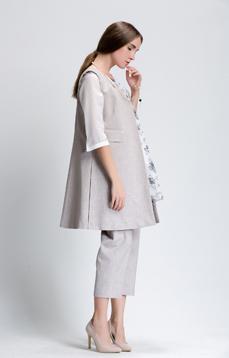 Aline/阿莱春秋新款V领无袖开襟风衣外套纯色真口袋中长款马甲