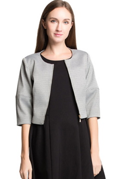 Aline/阿莱专柜正品春秋款圆领箱型版型短外套五分中袖百搭小上衣