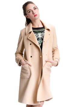 Aline/阿莱 反季秋冬羊毛大衣 驼色H型简约经典款双排扣毛呢外套  100%羊毛 小翻领 [618]