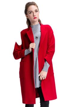 Aline/阿莱 反季秋冬大衣 红色小翻领开衫简约现代H型毛呢外套,潮流女装