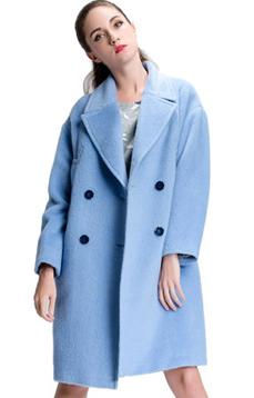 Aline/阿莱 反季秋冬长绒大衣 蓝色西装领H型宽松时尚款毛呢外套